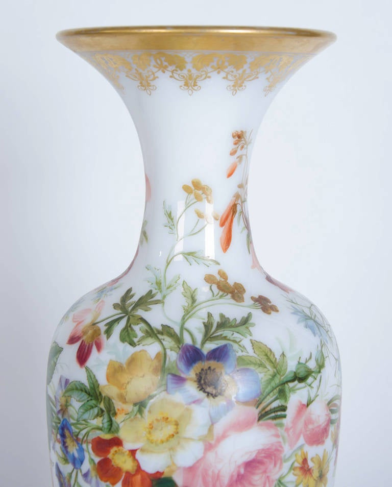 Opaque Glass Vase Painted With A Floral Decor By Baccarat For Sale