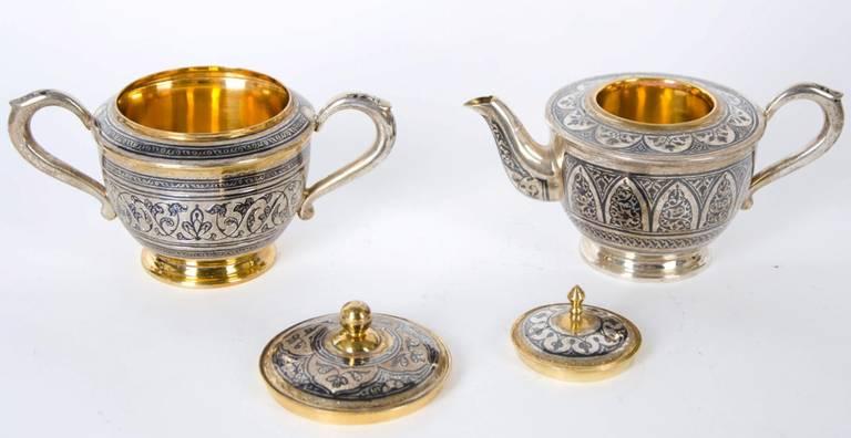 19th Century Antique Russian Tula silver gilt service For Sale