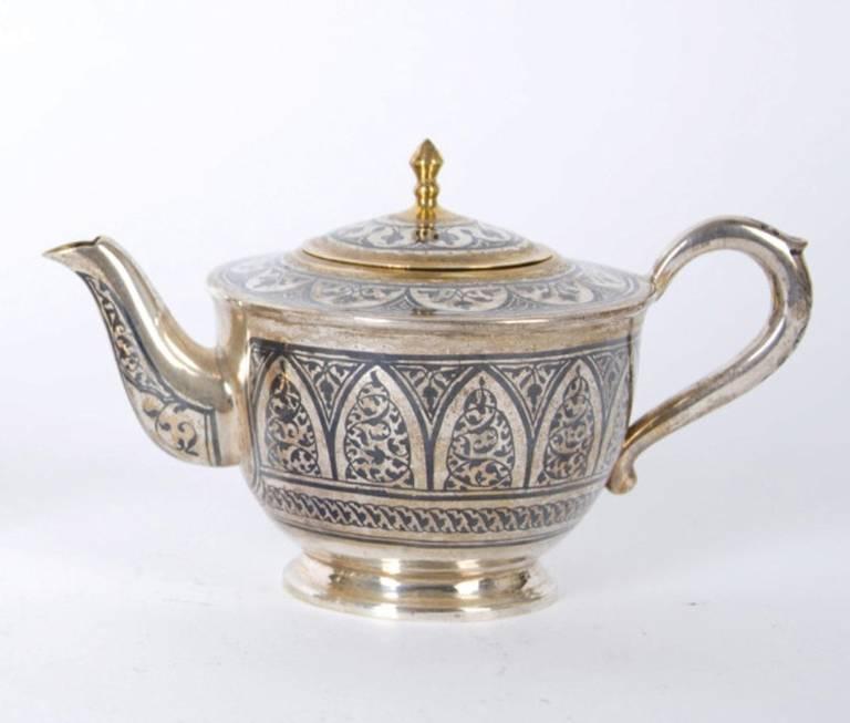 Silver Antique Russian Tula silver gilt service For Sale