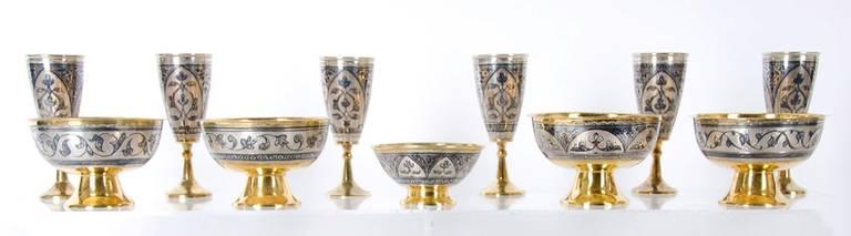 Antique Russian Tula silver gilt service For Sale 1