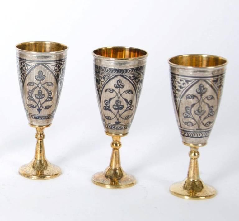 Antique Russian Tula silver gilt service For Sale 2