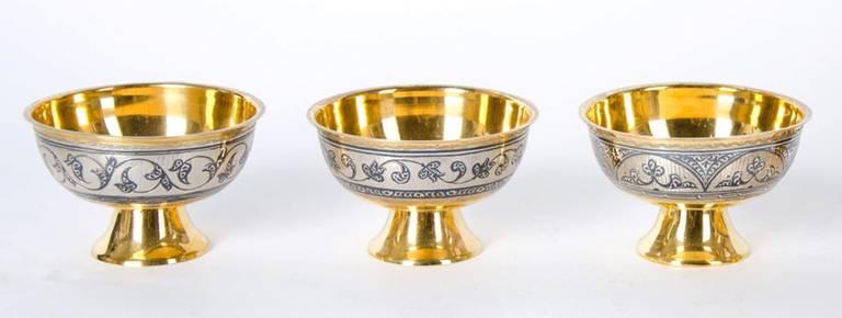 Antique Russian Tula silver gilt service For Sale 3