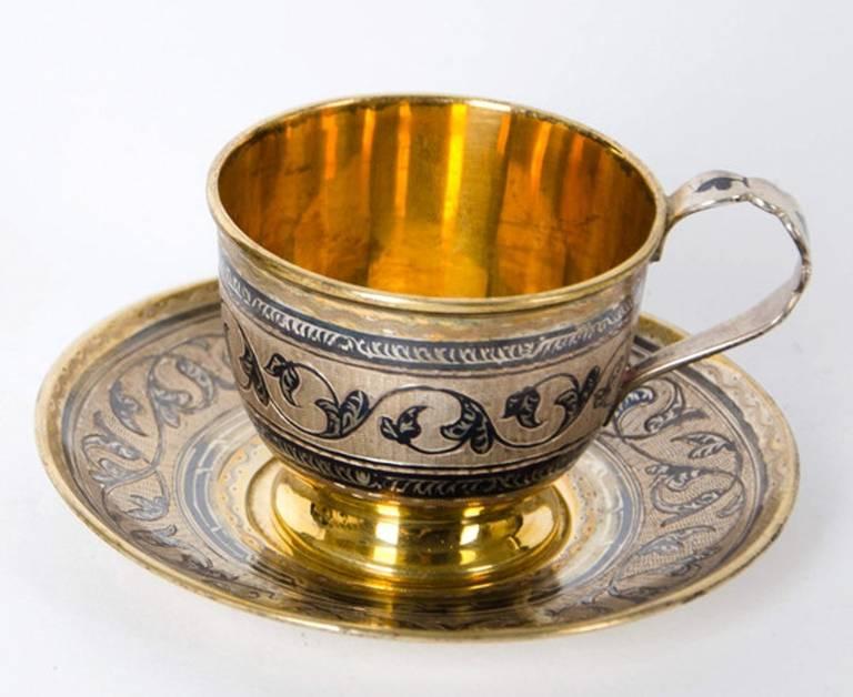 Antique Russian Tula silver gilt service For Sale 4