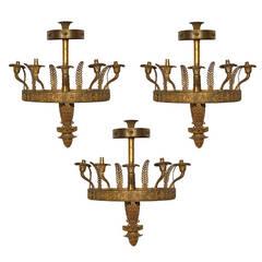 Set of Three Empire Style Ormolu Wall Lights