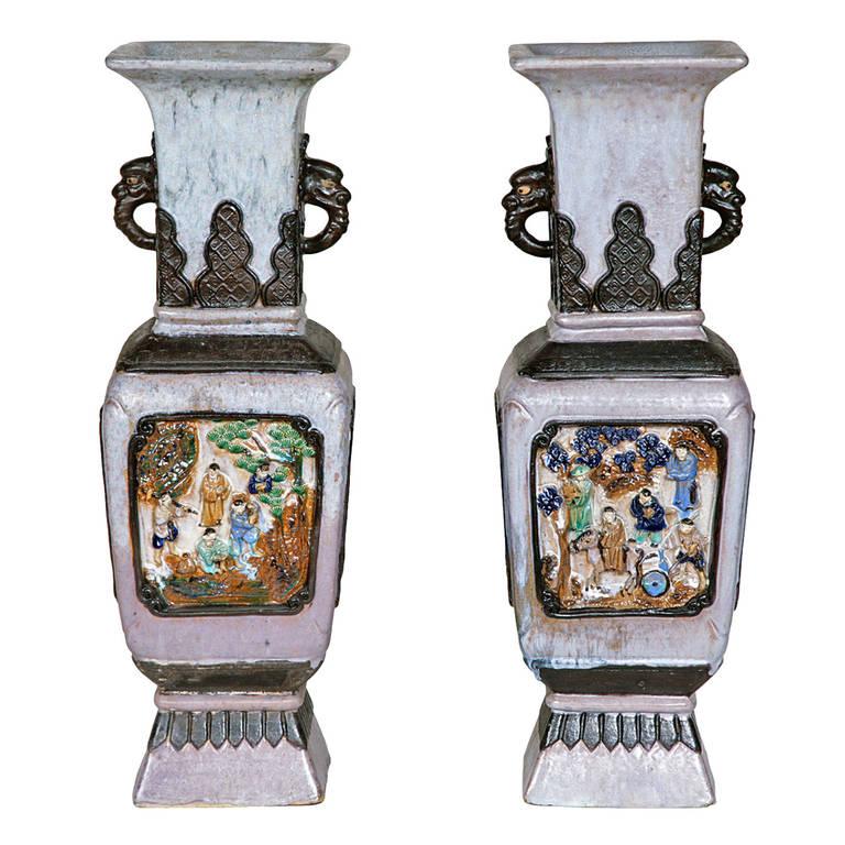Interesting Pair of Chinese Stoneware Vases