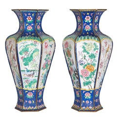 Pair of Hexagonal Shaped Cloisonne Enamel Vases