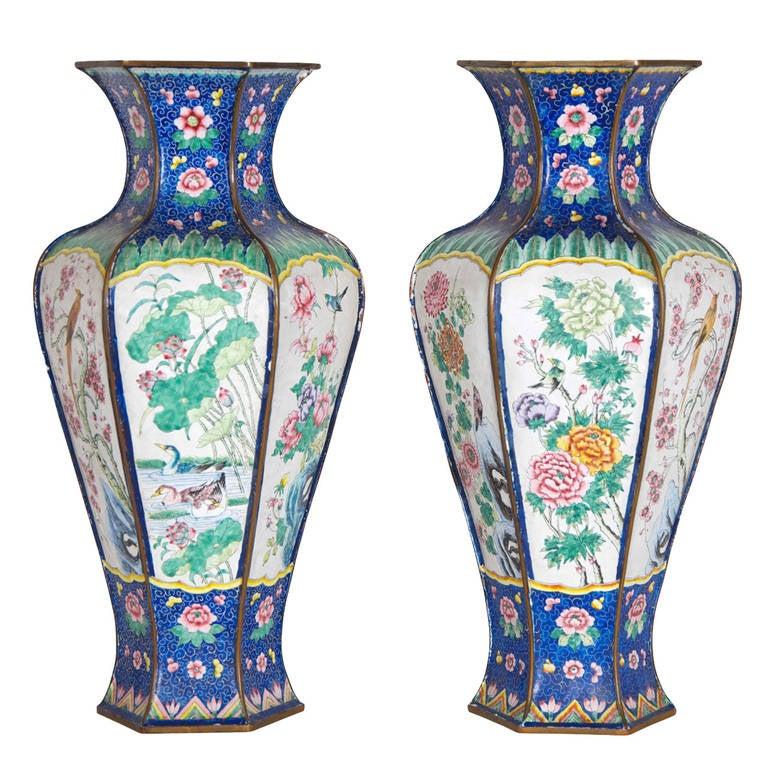 Pair of Hexagonal Shaped Cloisonne Enamel Vases