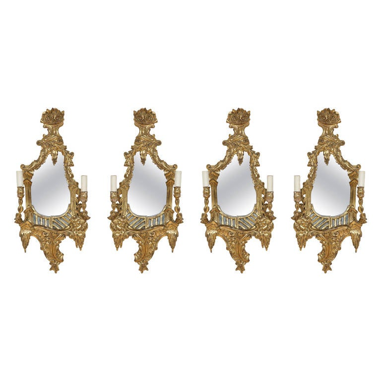 Set of four two branch wall lights in the rococo style for sale at set of four two branch wall lights in the rococo style for sale aloadofball Gallery