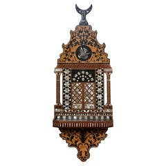 Ottoman Mother-of-Pearl and Ebony Inlaid Wall Bracket