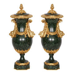 Pair of Ormolu-Mounted Green Porphyry Vases