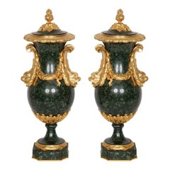 Pair of Ormolu-Mounted Green Porphyry Vases