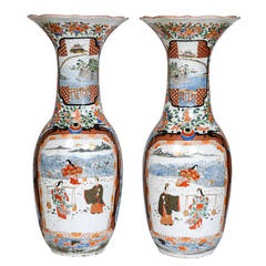 Pair of Large Imari Porcelain Vases