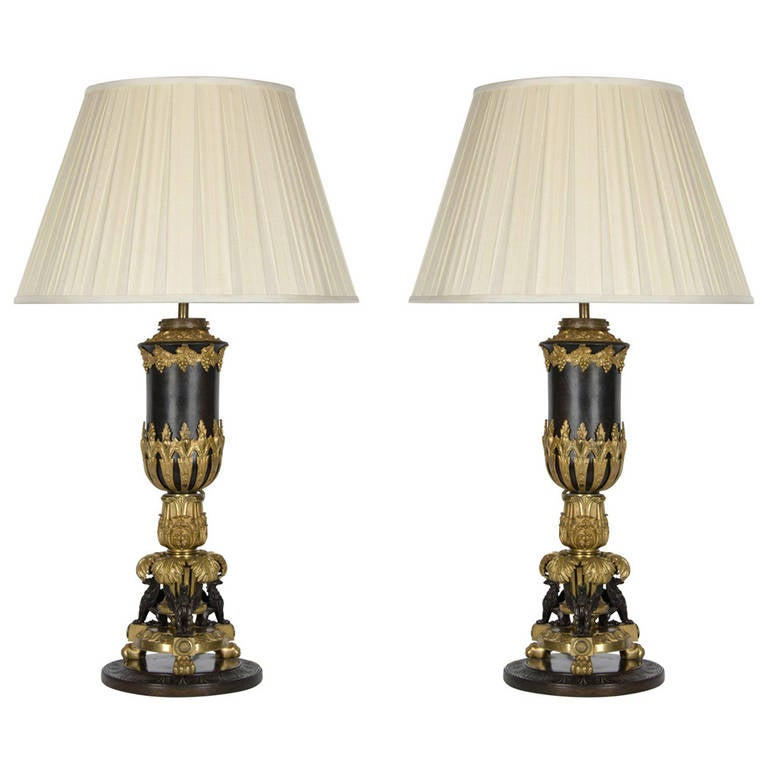 Pair of Empire Style Gilt and Patinated Bronze Lamps