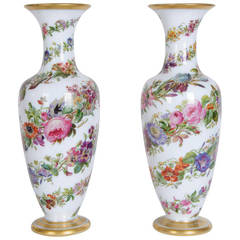 Pair of Opaline Glass Vases by Baccarat