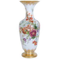 Opaque Glass Vase Painted with a Floral Decor by Baccarat