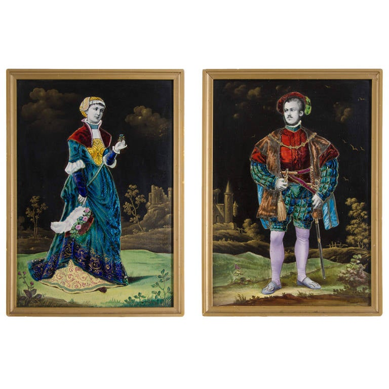 Pair of Rectangular Enamel on Porcelain Plaques by Lamy