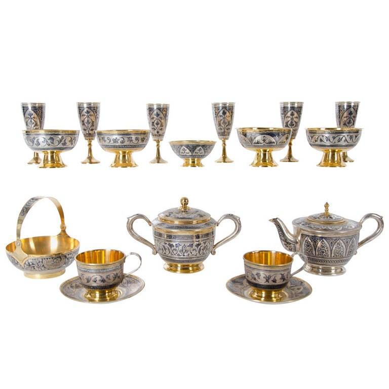 Antique Russian Tula silver gilt service For Sale