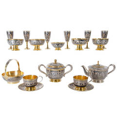 Antique Russian Tula silver gilt service