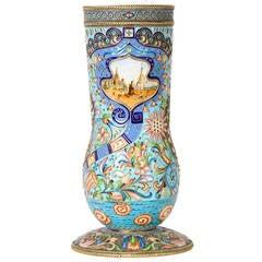 Large Silver-Gilt and Cloisonné Enamel Vase