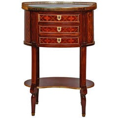 Ormolu-Mounted Oval-Shaped Side Table with Three Drawers