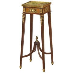 Fine Louis XVI Style Ormolu-Mounted Mahogany Stand with Onyx Top