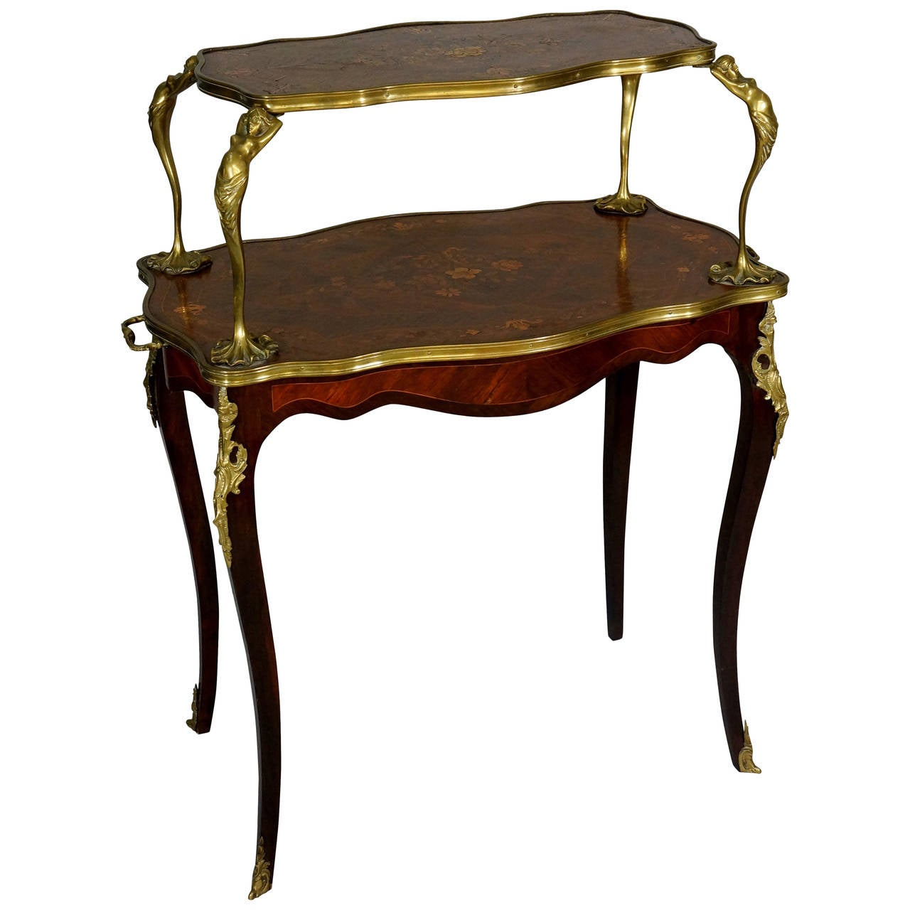 a fine louis xv style ormolu mounted marquetry two tier