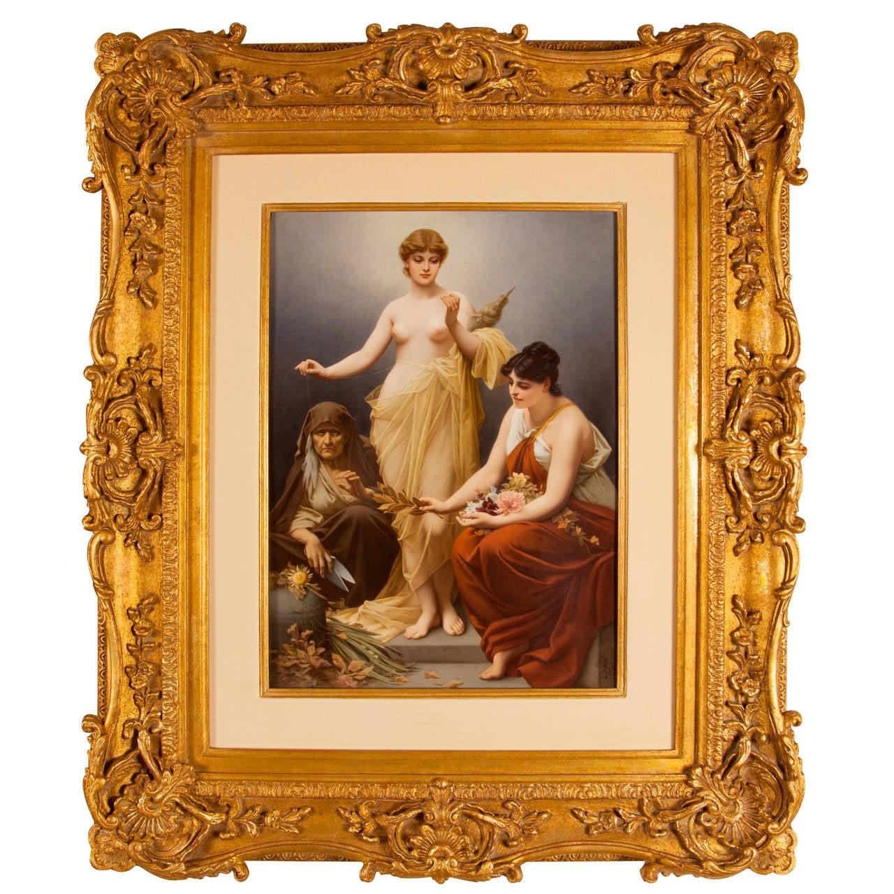 Large KPM Porcelain Plaque of the Three Fates