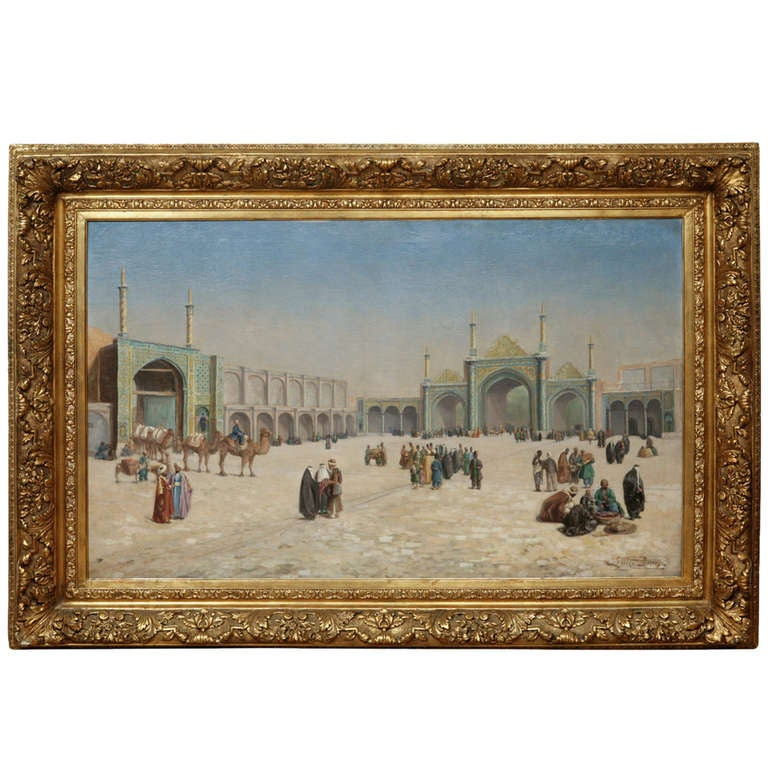 An Ottoman orientalist painting of the courtyard of an ottoman palace