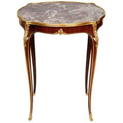 Louis XV Style Ormolu-Mounted Side Table with Marble Top Retailed by Deveraux