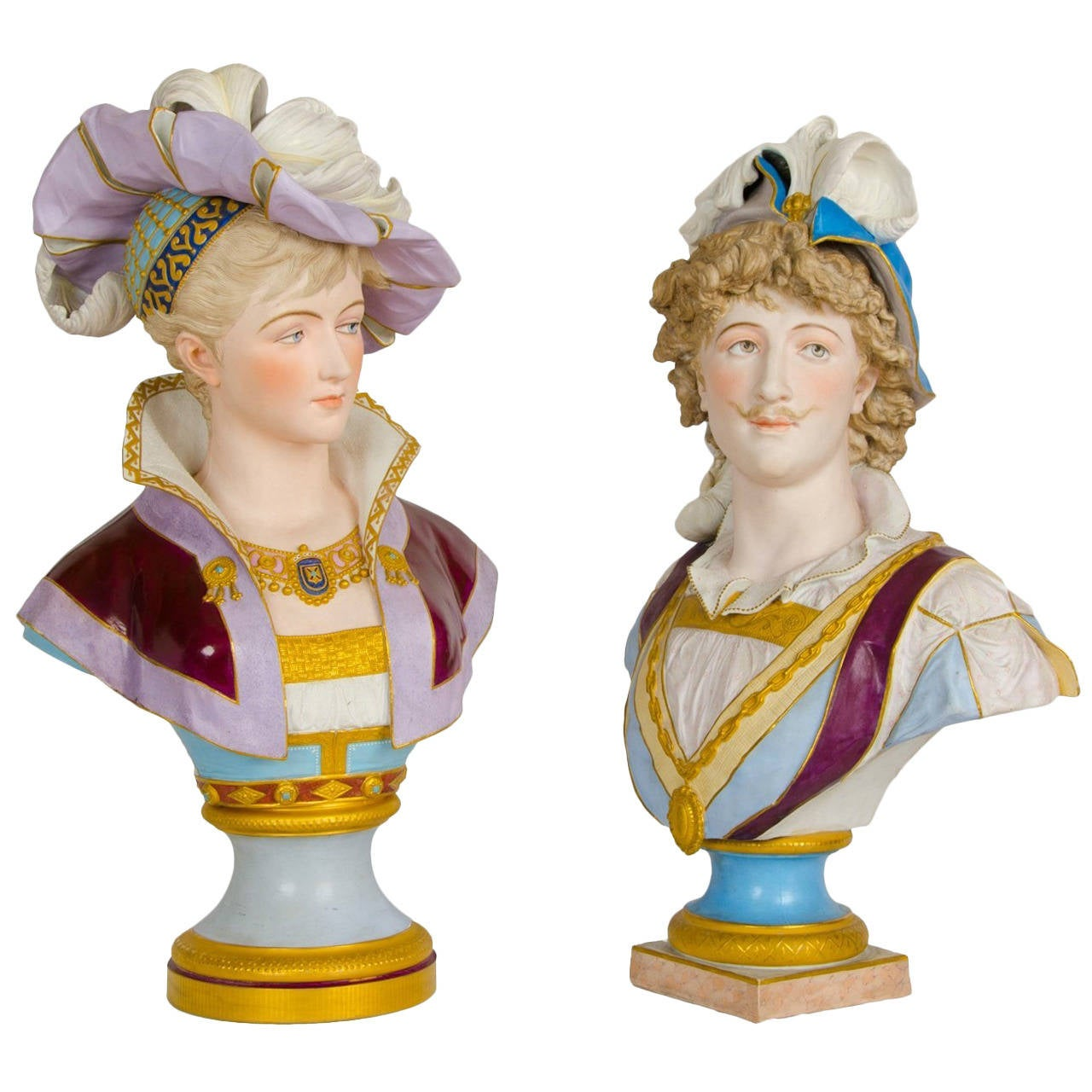 Near Pair of Bisque Porcelain Busts