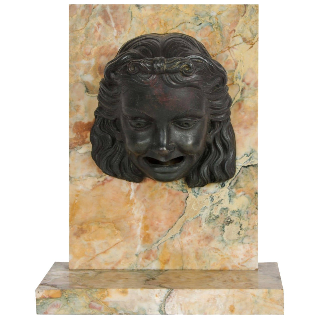 Patinated Bronze and Marble Fountain Element