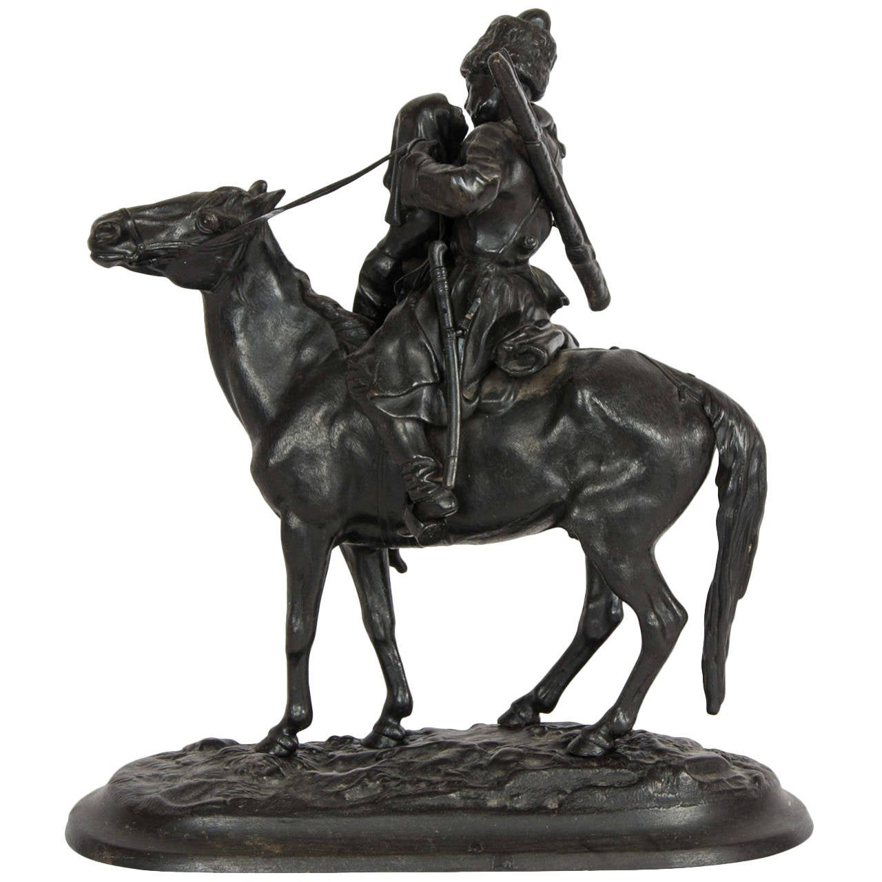 Russian Cast Iron Figure of a Cossack on Horseback For Sale