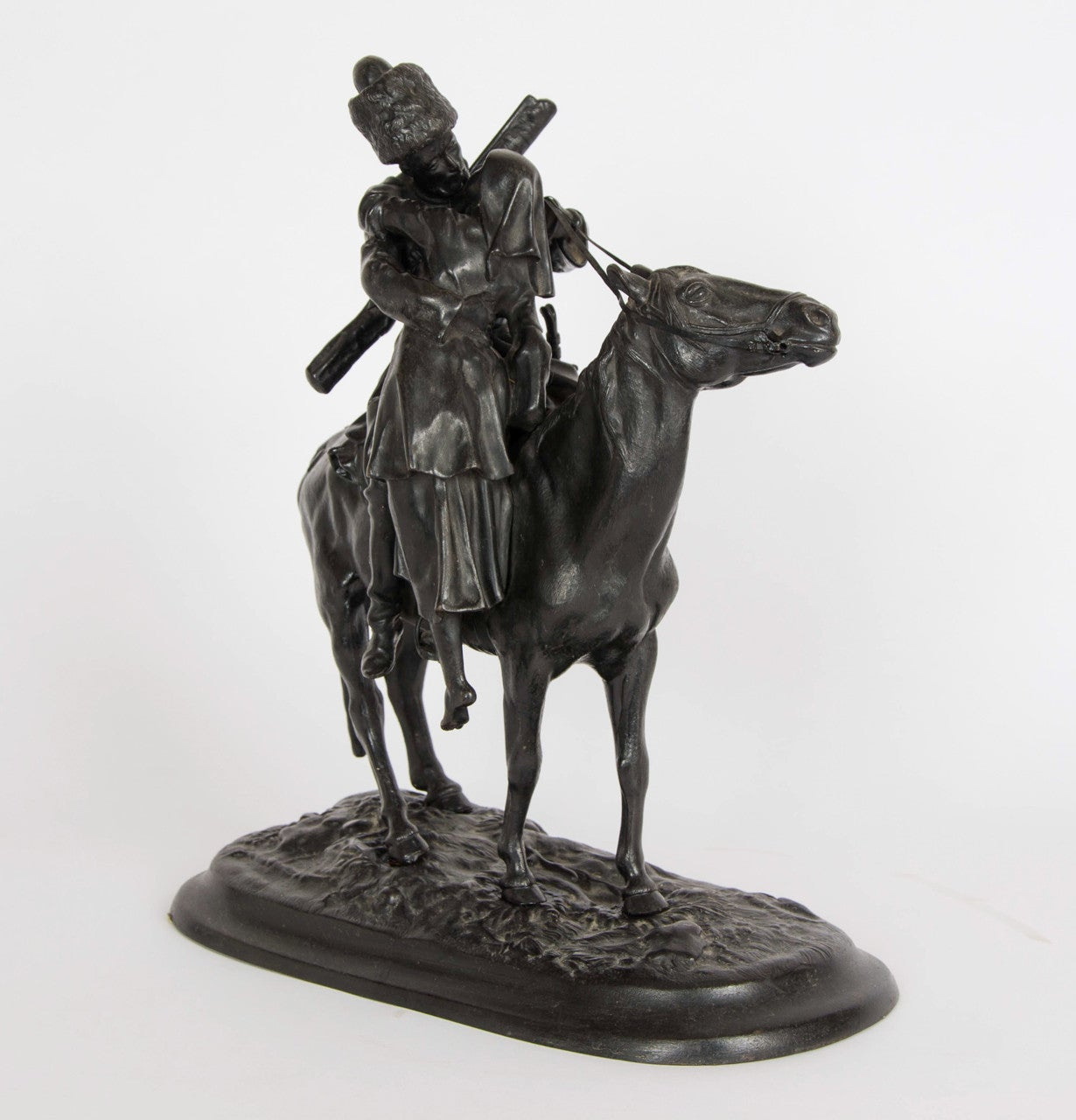 Russian Cast Iron Figure of a Cossack on Horseback For Sale 1