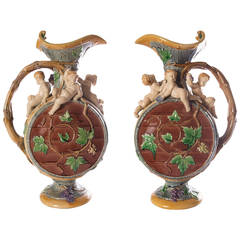 Matched pair of antique Minton majolica 'Protat' ewers