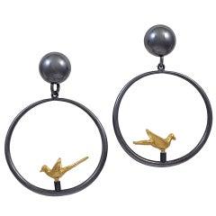 """""""Les Tourterelles"""" Earrings by Line Vautrin"""