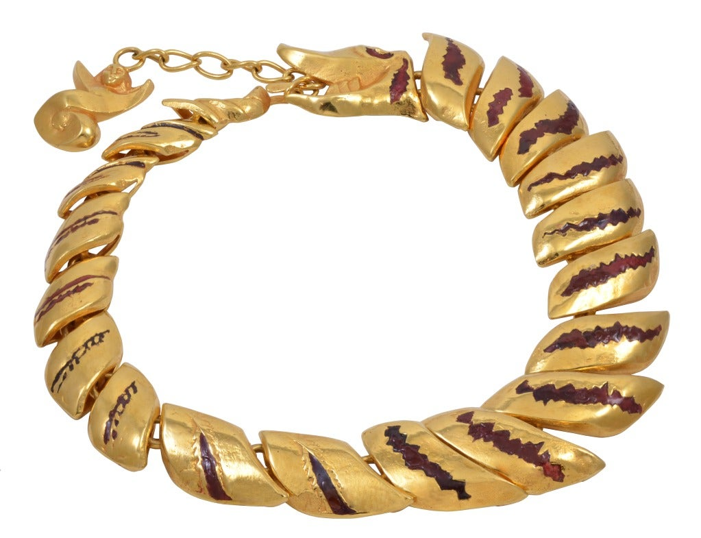 """Dragon"" A bronze doré and enamel necklace."