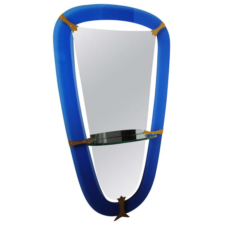 1958 39 s italian mirror with blue glass frame and crystal for Full length glass mirror
