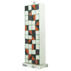 Checkered Patterned Ceramic Table Lamp by Guido Gambone