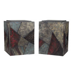 Pair of Paul Evans Painted Steel and Bronze Occasional Tables