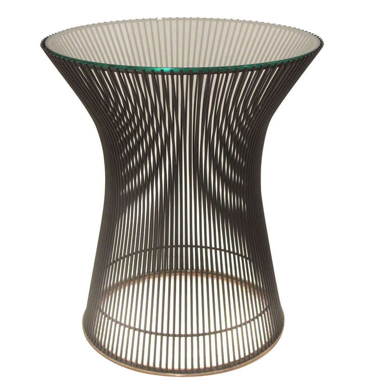 Bronze plated steel and glass occasional table by warren for Table warren platner