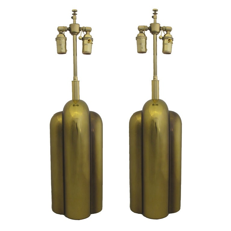 Westwood Lighting: Pair Of Sculptural Brass Table Lamps By Westwood