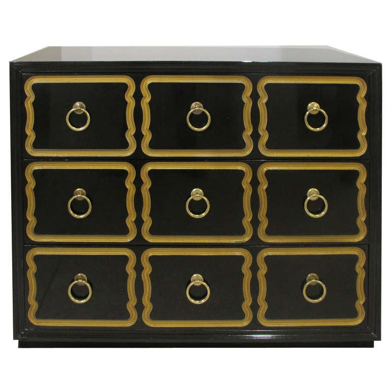 High Quality Dorothy Draper 3 Drawer Lacquered Commode For Heritage Henredon 1