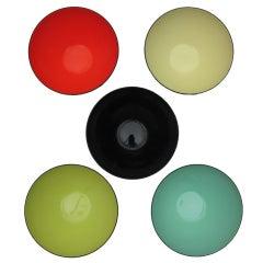 Five Krenit Enamel Steel Bowls