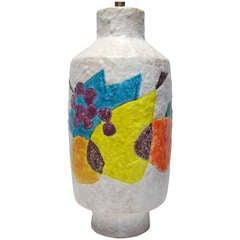 Raymor Bitossi Ceramic Lamp White Yellow Fruit Still Life Signed Italy 1960's