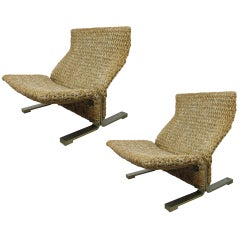 Pair of Woven Lounge Chairs with Brass Plated Steel Bases by Saporiti