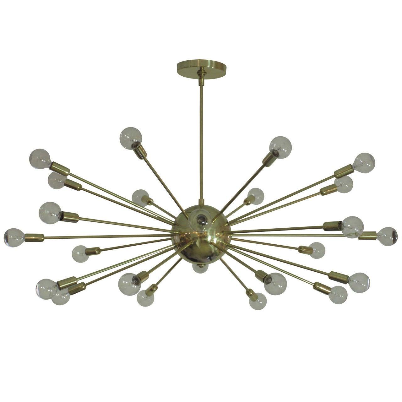 Sputnik Chandelier Brass Twenty-Four-Arm USA 1950's