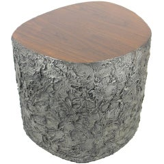 Tree Trunk Table in Rare Sculpted Aluminum by Paul Evans