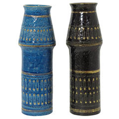 Bitossi Ceramic Vases Safety Pins Blue Black Gold Pair, Signed Italy 1960's