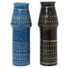 Bitossi Ceramic Vases Safety Pins Italy Pair