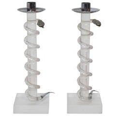 Pair of Coiled Snake Acrylic and Brass Candlesticks by Alessandro Albrizzi